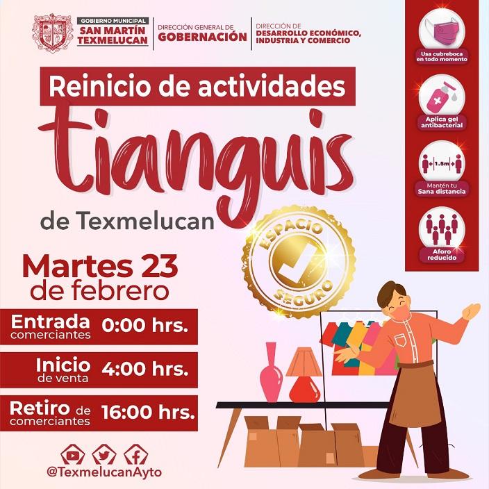 TIANGUIS DE TEXMELUCAN REINICIA ACTIVIDADES CON ESTRICTOS PROTOCOLOS DE PREVENCION ANTE EL COVID