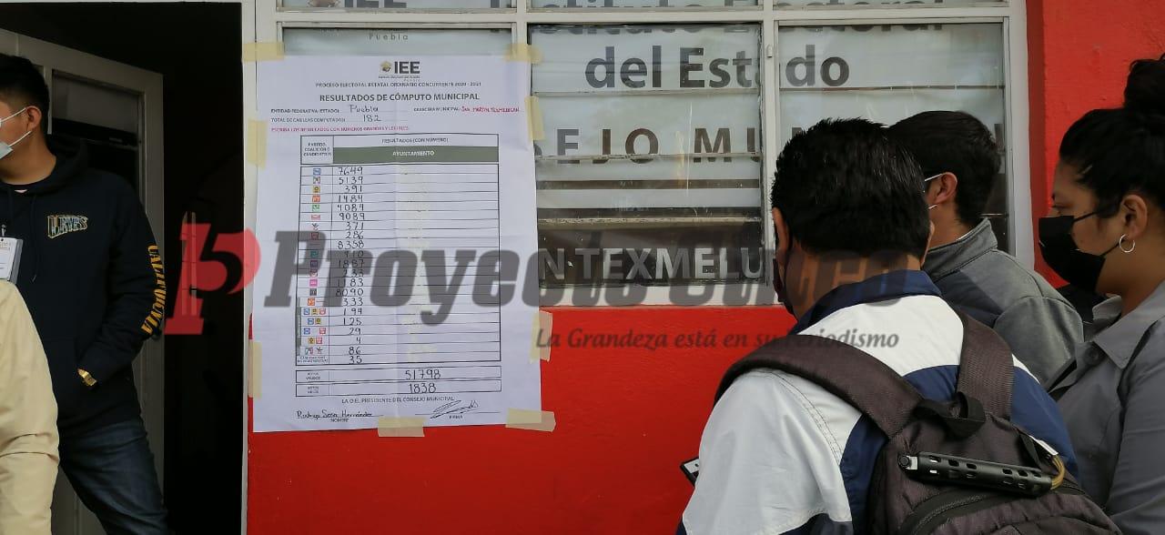 Sabana con los resultados oficiales en San Martín Texmelucan