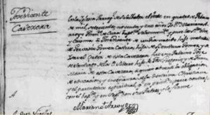 Registro en archivos parroquiales de San Salvador El Verde, proporcionada por Maximino Pérez.