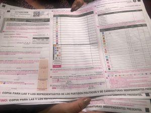 Acta de Escrutinio donde no aparecen los logotipos de Morena y PT solos