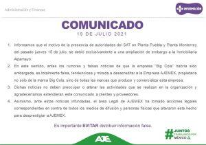Comunicado de Ajemex Grup sobre el embargo en planta de Huejotzingo por parte del SAT