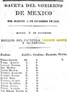 Indulto del 3 de diciembre de 1816, a favor de Vicente Gomez, El Capador y su banda de ladrones.