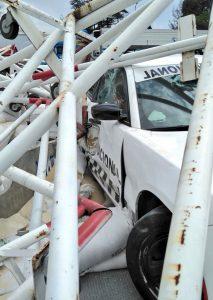 Una patrulla de la Guardia Nacional quedó chocada tras el accidente en la autopista México-Puebla a la altura de las casetas de San Marcos
